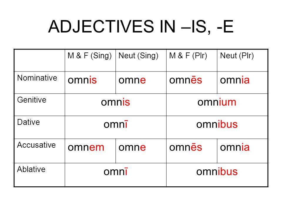 ADJECTIVES IN –IS, -E M & F (Sing)Neut (Sing)M & F (Plr)Neut (Plr) Nominative omnisomneomnēsomnia Genitive omnisomnium Dative omnīomnibus Accusative omnemomneomnēsomnia Ablative omnīomnibus