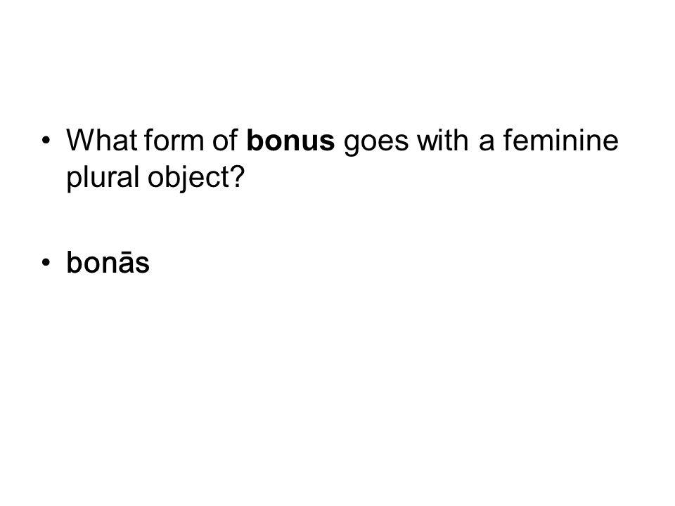 THE FULL SET OF ENDINGS FOR BONUS - PLURAL Masculine FeminineNeuter Nominative bonībonaebona Genitive bonōrumbonārumbonōrum Dative Accusative Ablative