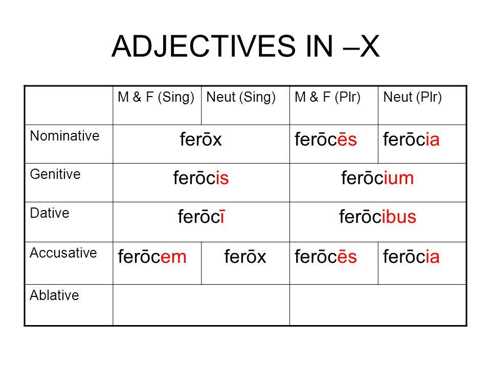 ADJECTIVES IN –X M & F (Sing)Neut (Sing)M & F (Plr)Neut (Plr) Nominative ferōxferōcēsferōcia Genitive ferōcisferōcium Dative ferōcīferōcibus Accusative ferōcemferōxferōcēsferōcia Ablative