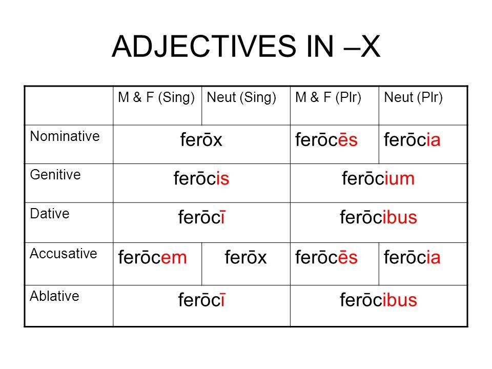 ADJECTIVES IN –X M & F (Sing)Neut (Sing)M & F (Plr)Neut (Plr) Nominative ferōxferōcēsferōcia Genitive ferōcisferōcium Dative ferōcīferōcibus Accusative ferōcemferōxferōcēsferōcia Ablative ferōcīferōcibus