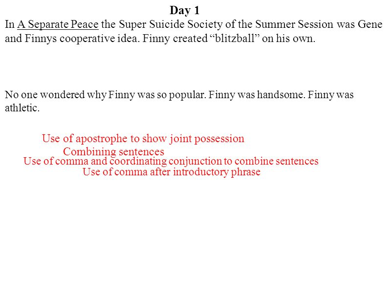 Day 1 In A Separate Peace, the Super Suicide Society of the Summer Session was Gene and Finny's cooperative idea, but Finny created blitzball on his own.