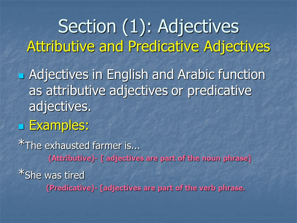 Section (1): Adjectives Attributive and Predicative Adjectives - Postpositive adjective: - - The policeman involed in the bribery was jailed.