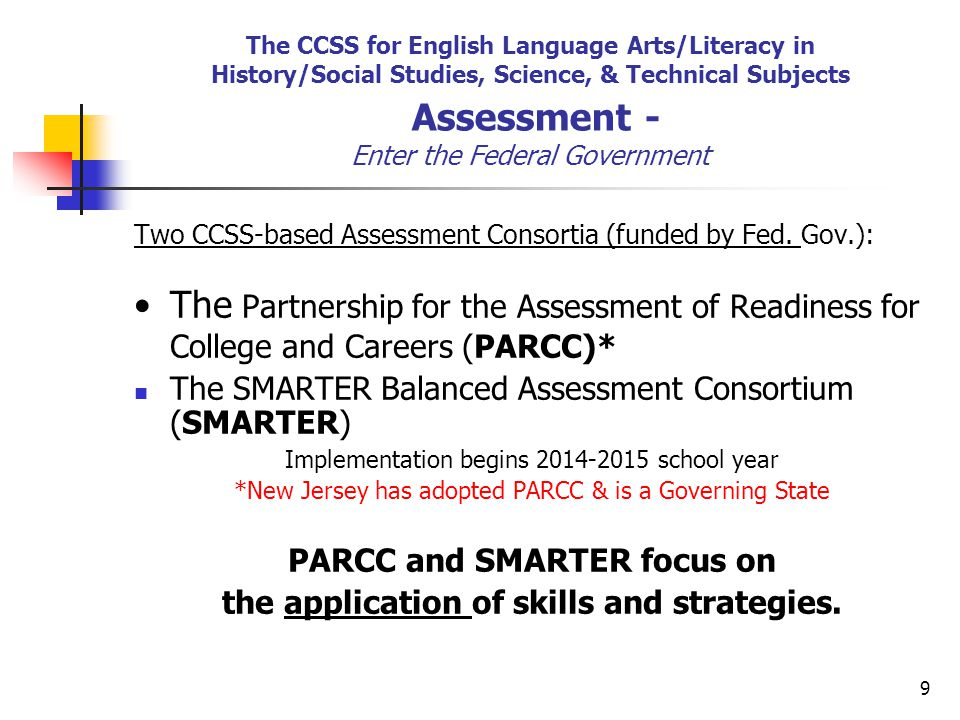 9 The CCSS for English Language Arts/Literacy in History/Social Studies, Science, & Technical Subjects Assessment - Enter the Federal Government Two CCSS-based Assessment Consortia (funded by Fed.