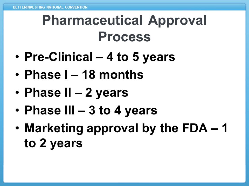 BETTERINVESTING NATIONAL CONVENTION Pre-Clinical Stage Typically involves years of testing on animals and human cells Successful results lead to Investigational New Drug (IND) application to FDA
