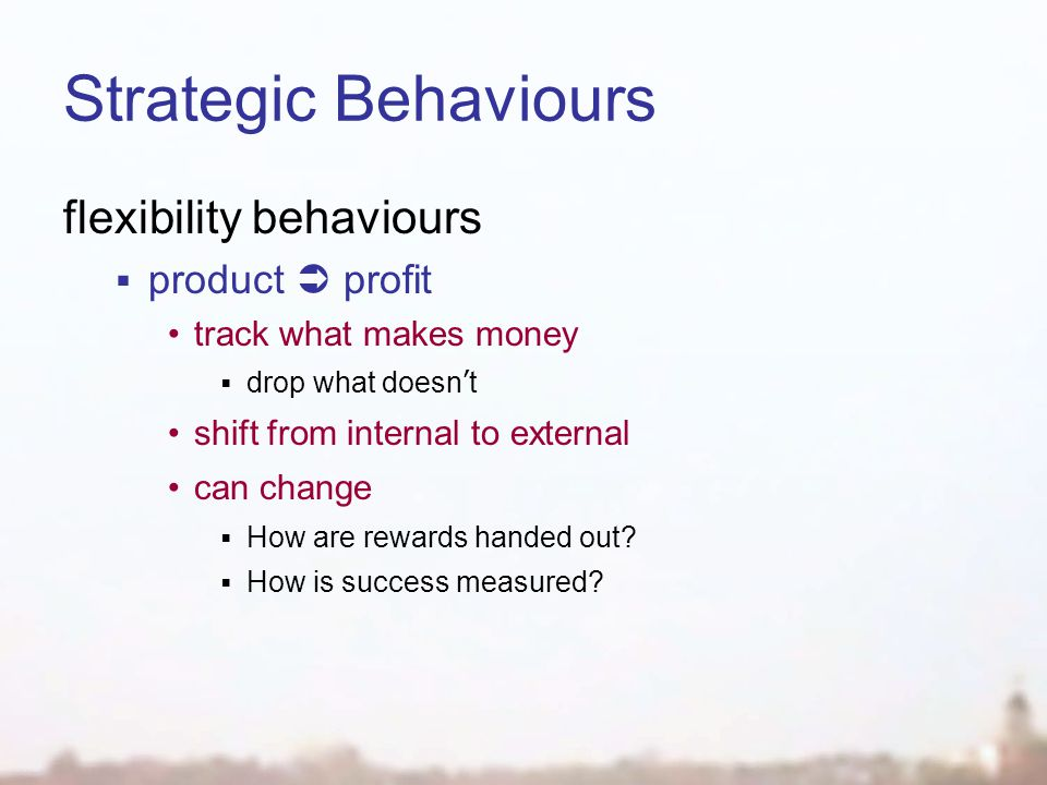 Strategic Behaviours flexibility behaviours  product  profit track what makes money  drop what doesn ' t shift from internal to external can change  How are rewards handed out.