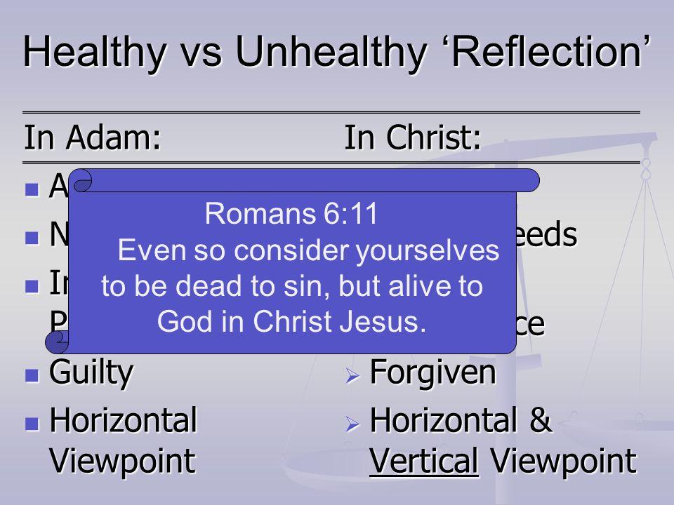 Healthy vs Unhealthy 'Reflection' In Adam: Alone Alone Needy Needy Insignificance Problem Insignificance Problem Guilty Guilty Horizontal Viewpoint Ho