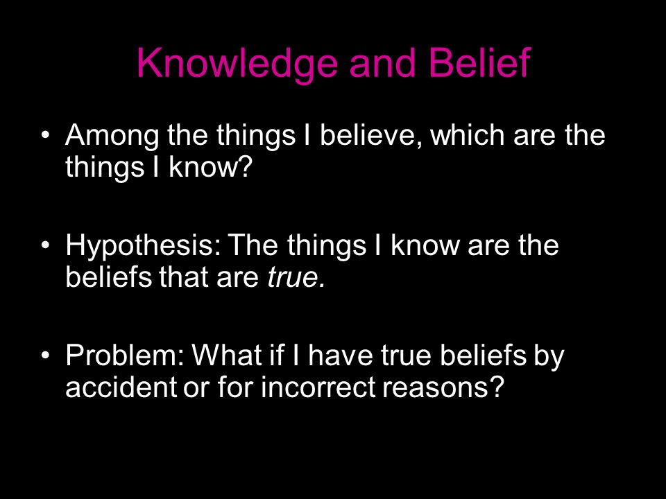 Knowledge and Belief Among the things I believe, which are the things I know.