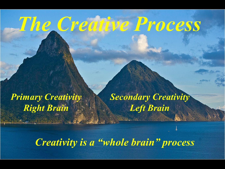 "The Creative Process Primary Creativity Right Brain Secondary Creativity Left Brain Creativity is a ""whole brain"" process"