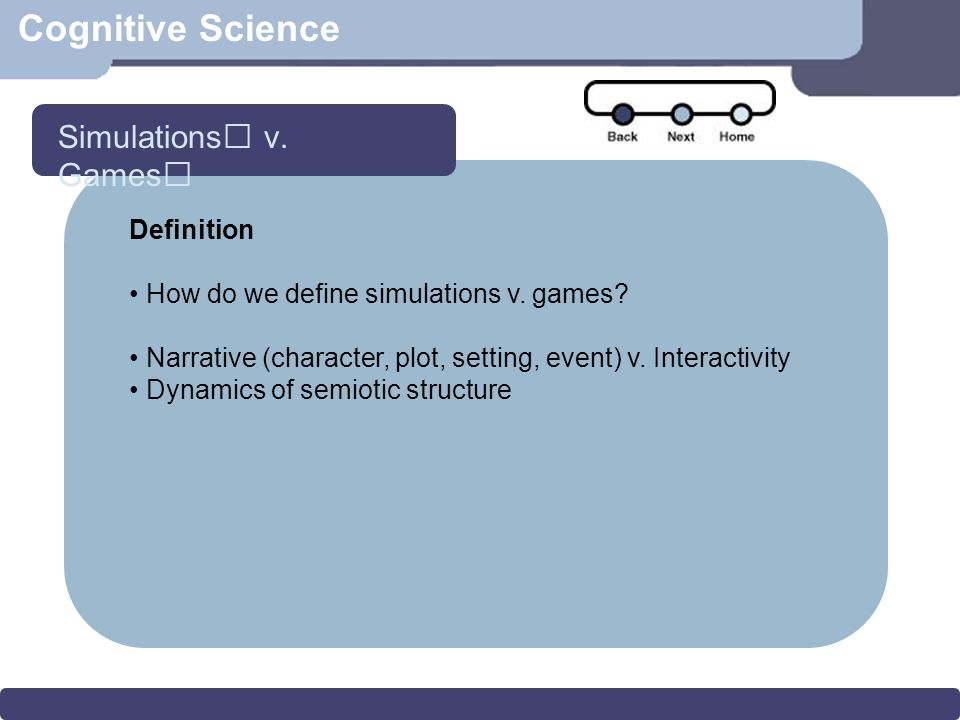 Cognitive Science Definition How do we define simulations v.