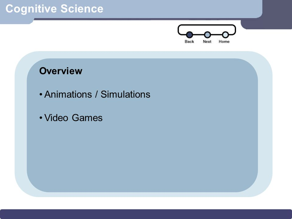 Cognitive Science Overview Animations / Simulations Video Games