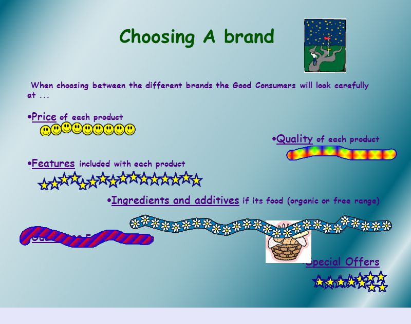 Choosing A brand When choosing between the different brands the Good Consumers will look carefully at...