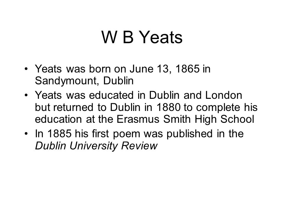 William Butler Yeats By Tom Higgins