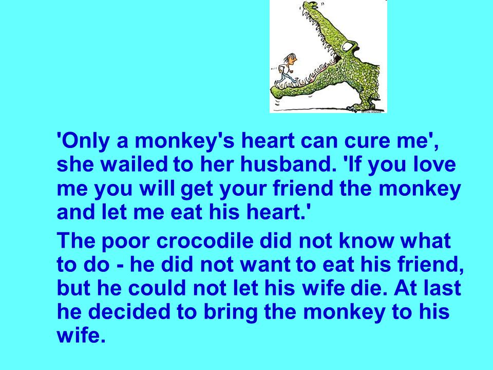 Only a monkey s heart can cure me , she wailed to her husband.
