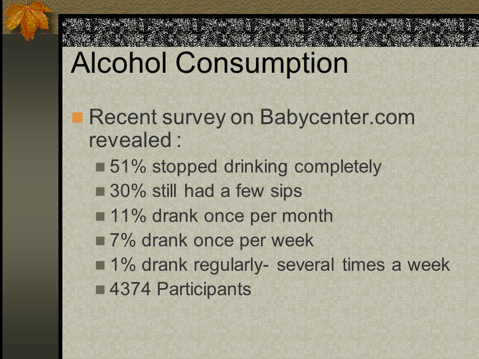 Alcohol Consumption Recent survey on Babycenter.com revealed : 51% stopped drinking completely 30% still had a few sips 11% drank once per month 7% drank once per week 1% drank regularly- several times a week 4374 Participants