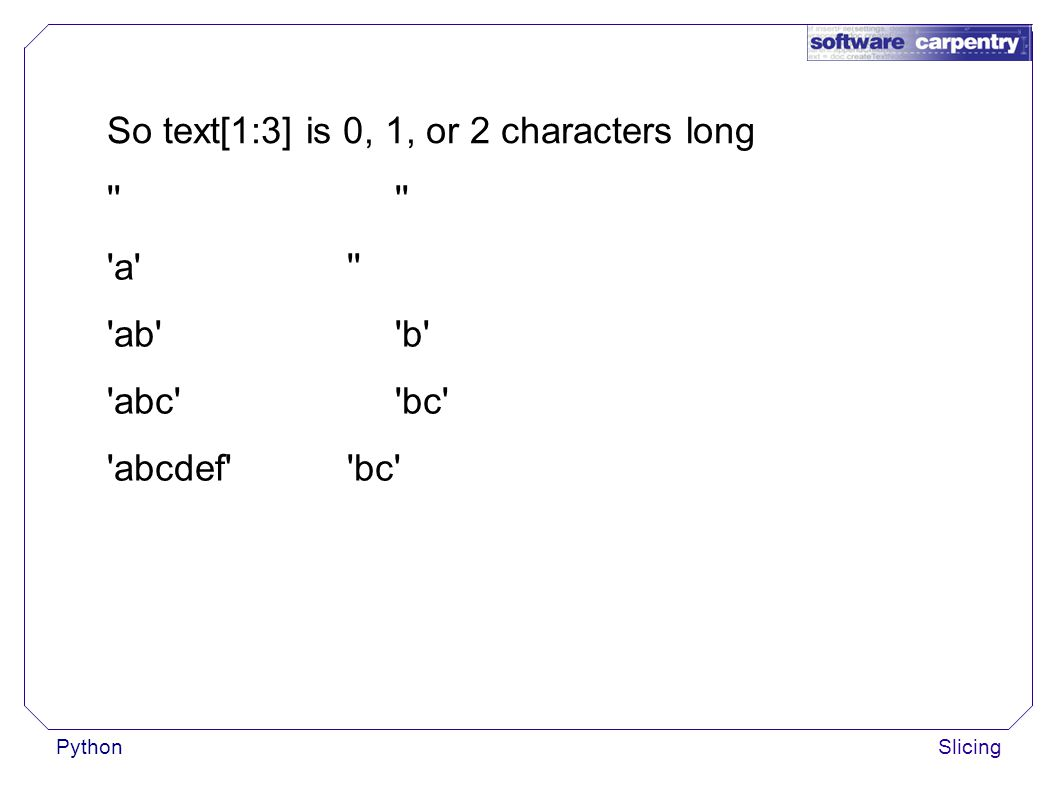 PythonSlicing So text[1:3] is 0, 1, or 2 characters long a ab b abc bc abcdef bc
