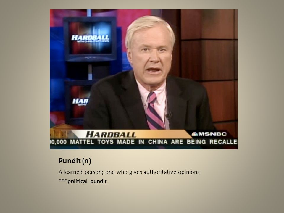 Pundit (n) A learned person; one who gives authoritative opinions ***political pundit