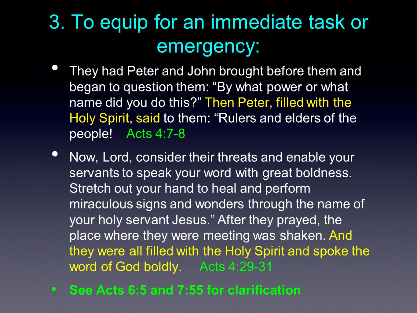 """3. To equip for an immediate task or emergency: They had Peter and John brought before them and began to question them: """"By what power or what name di"""