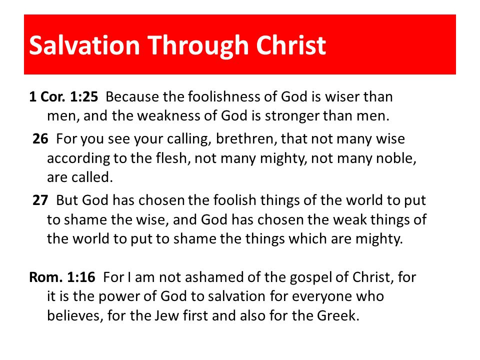 Salvation Through Christ 1 Cor.