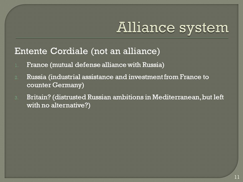 Entente Cordiale (not an alliance) 1. France (mutual defense alliance with Russia) 2.