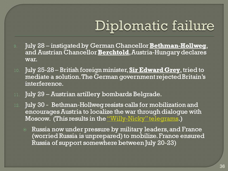 9. July 28 – instigated by German Chancellor Bethman-Hollweg, and Austrian Chancellor Berchtold, Austria-Hungary declares war. 10. July 25-28 – Britis