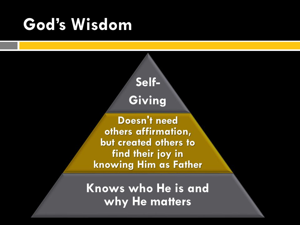 God's Wisdom Self- Giving Doesn t need others affirmation, but created others to find their joy in knowing Him as Father Knows who He is and why He matters