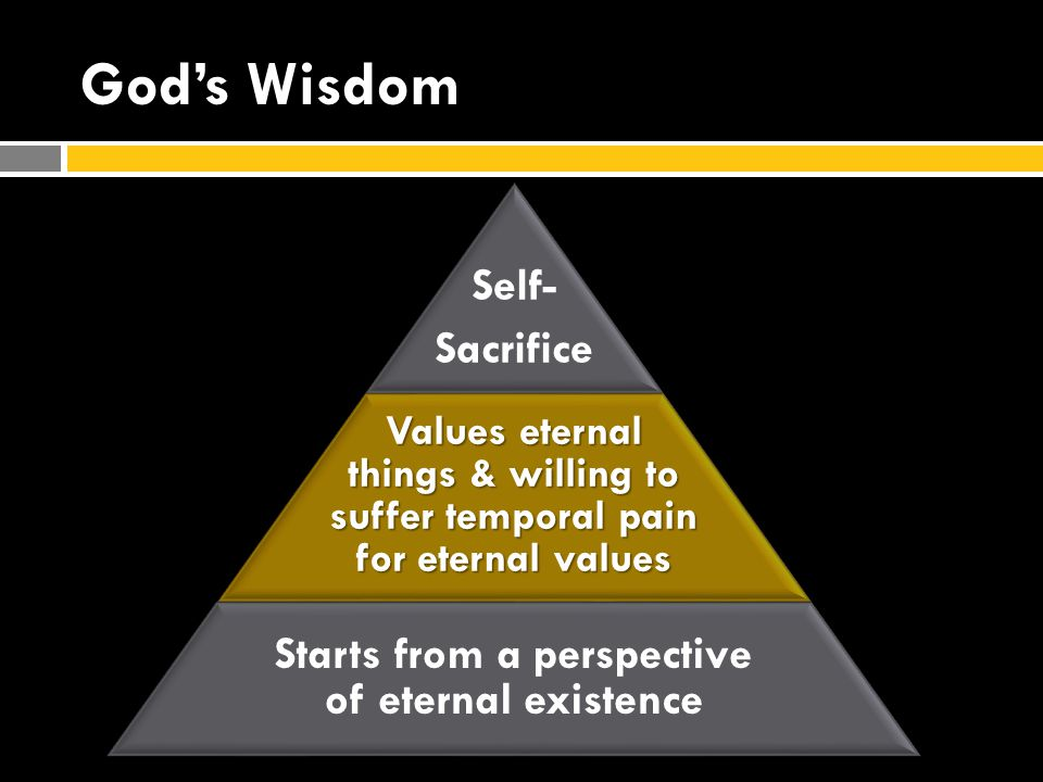God's Wisdom Self- Sacrifice Values eternal things & willing to suffer temporal pain for eternal values Starts from a perspective of eternal existence