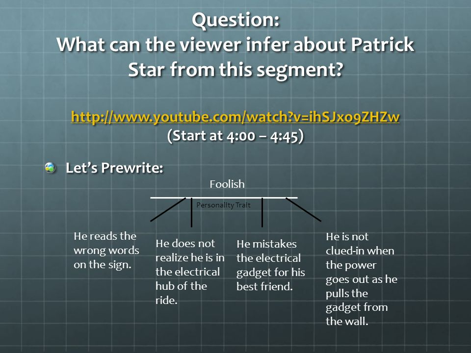 Question: What can the viewer infer about Patrick Star from this segment.