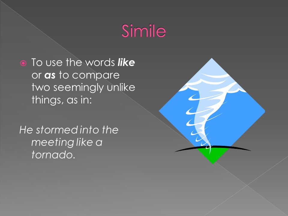  To use the words like or as to compare two seemingly unlike things, as in: He stormed into the meeting like a tornado.
