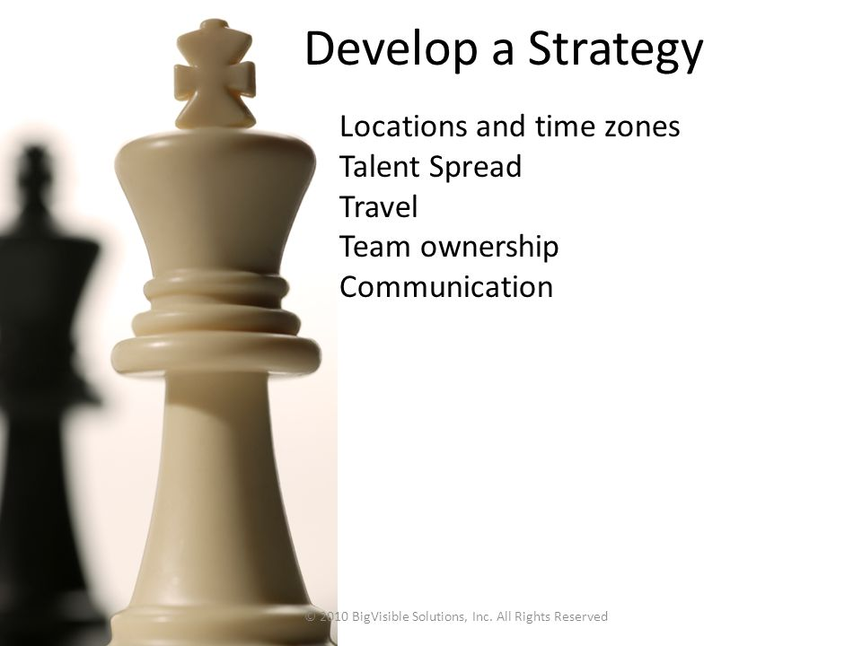 Locations and time zones Talent Spread Travel Team ownership Communication Develop a Strategy © 2010 BigVisible Solutions, Inc. All Rights Reserved