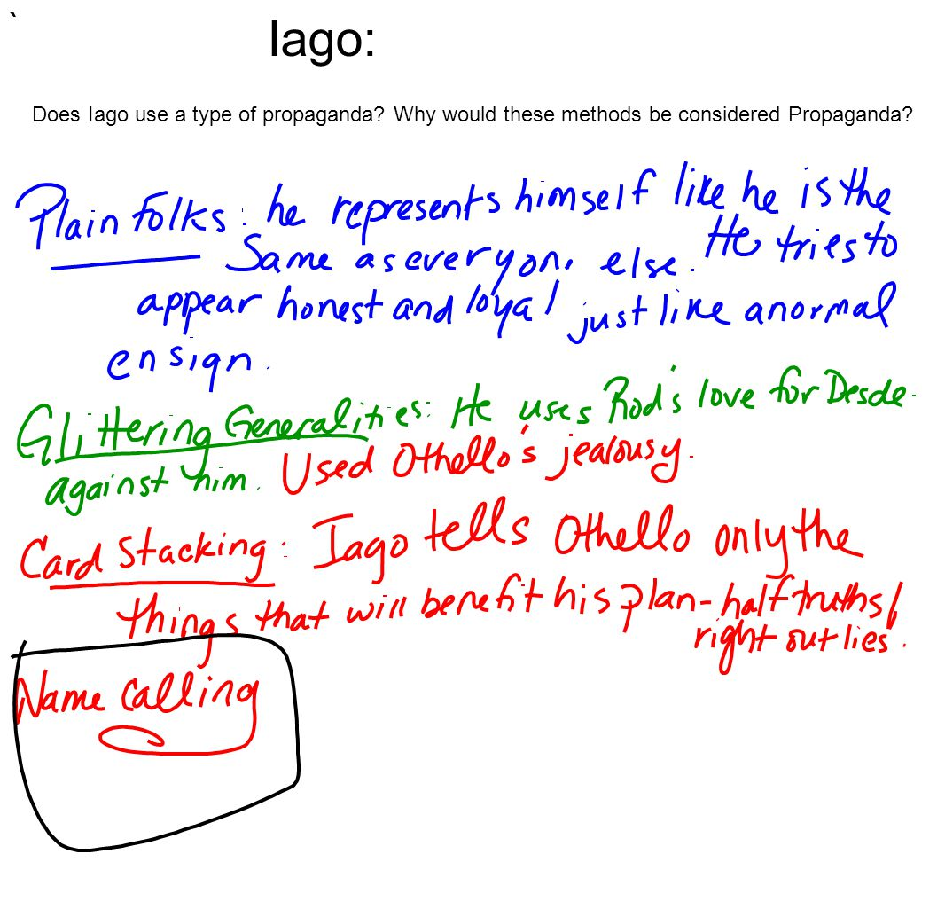 Iago: Does Iago use a type of propaganda Why would these methods be considered Propaganda `