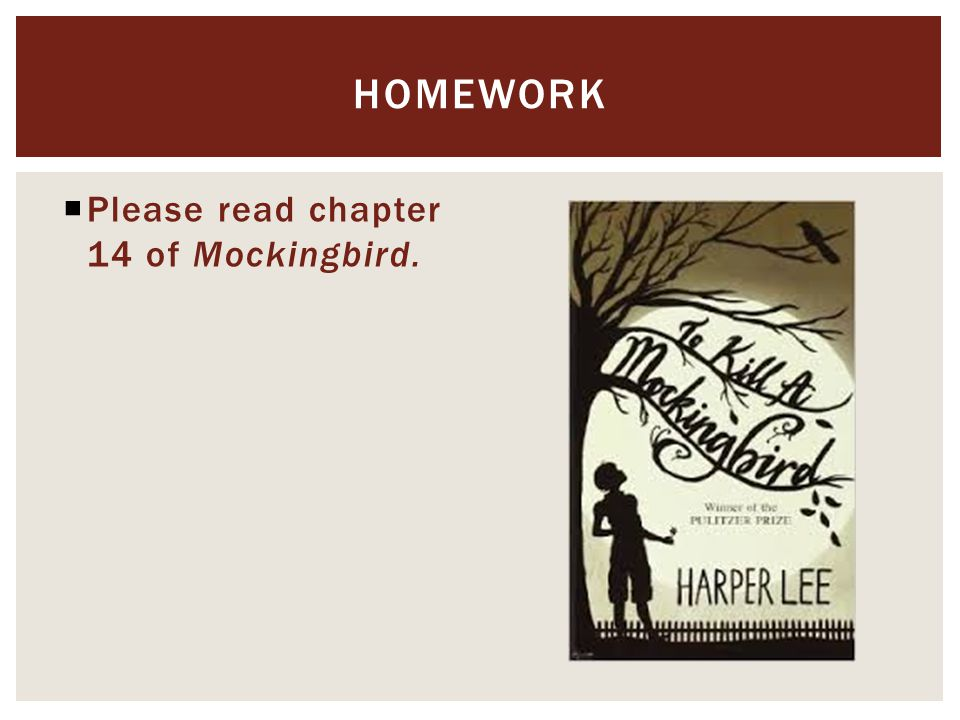  Please read chapter 14 of Mockingbird. HOMEWORK