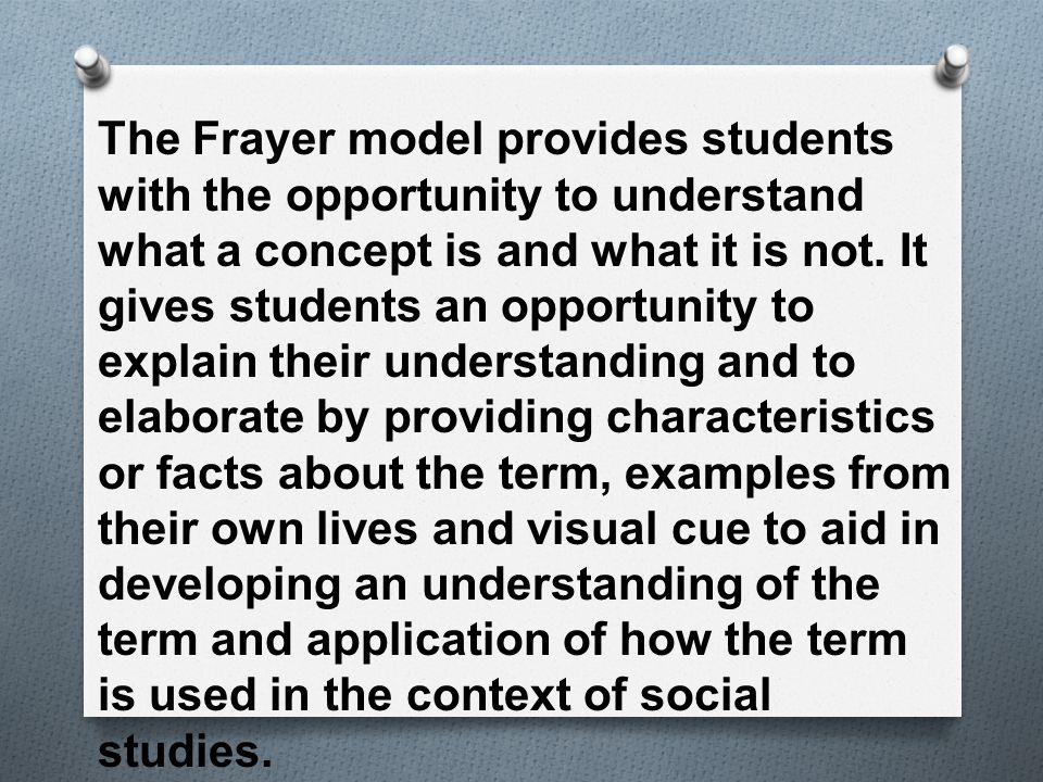 The Frayer model provides students with the opportunity to understand what a concept is and what it is not.