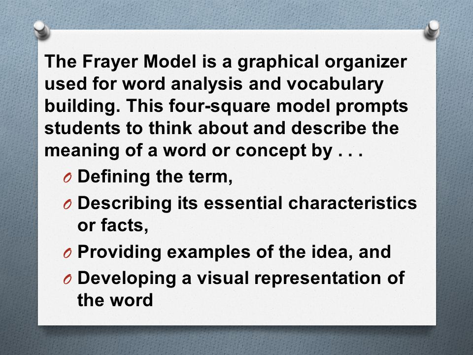 The Frayer Model is a graphical organizer used for word analysis and vocabulary building.