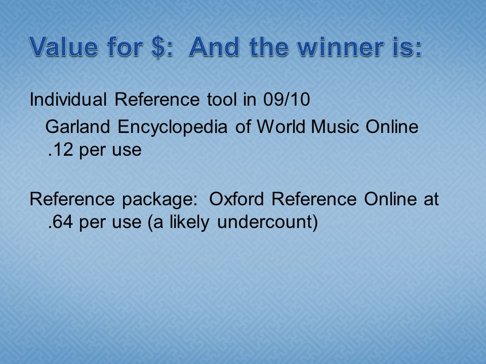 Individual Reference tool in 09/10 Garland Encyclopedia of World Music Online.12 per use Reference package: Oxford Reference Online at.64 per use (a l