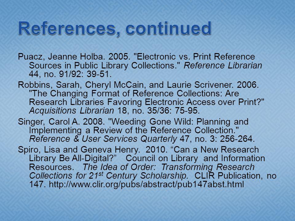 Puacz, Jeanne Holba. 2005. Electronic vs.