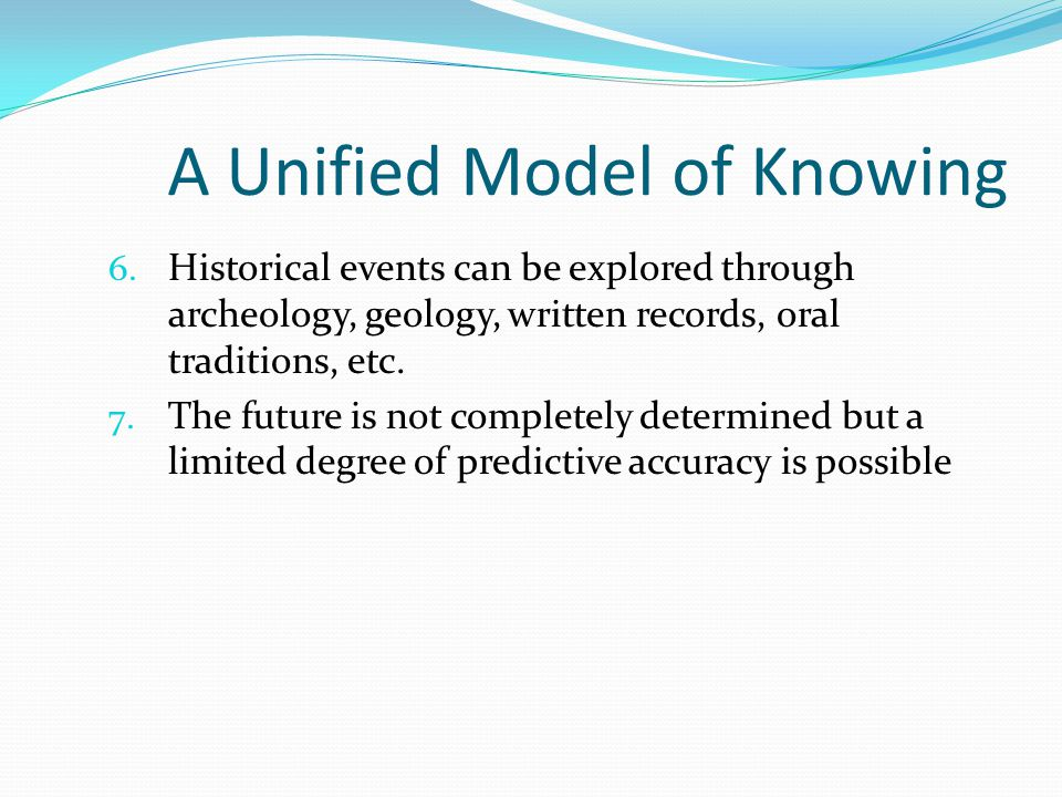 A Unified Model of Knowing 6.