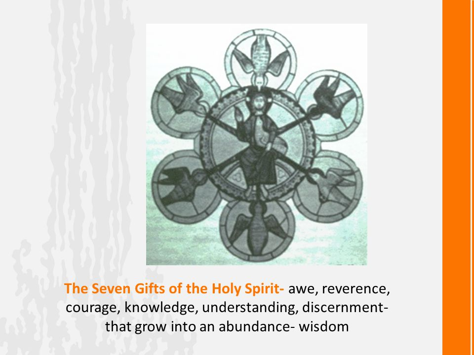 The Seven Gifts of the Holy Spirit- awe, reverence, courage, knowledge, understanding, discernment- that grow into an abundance- wisdom