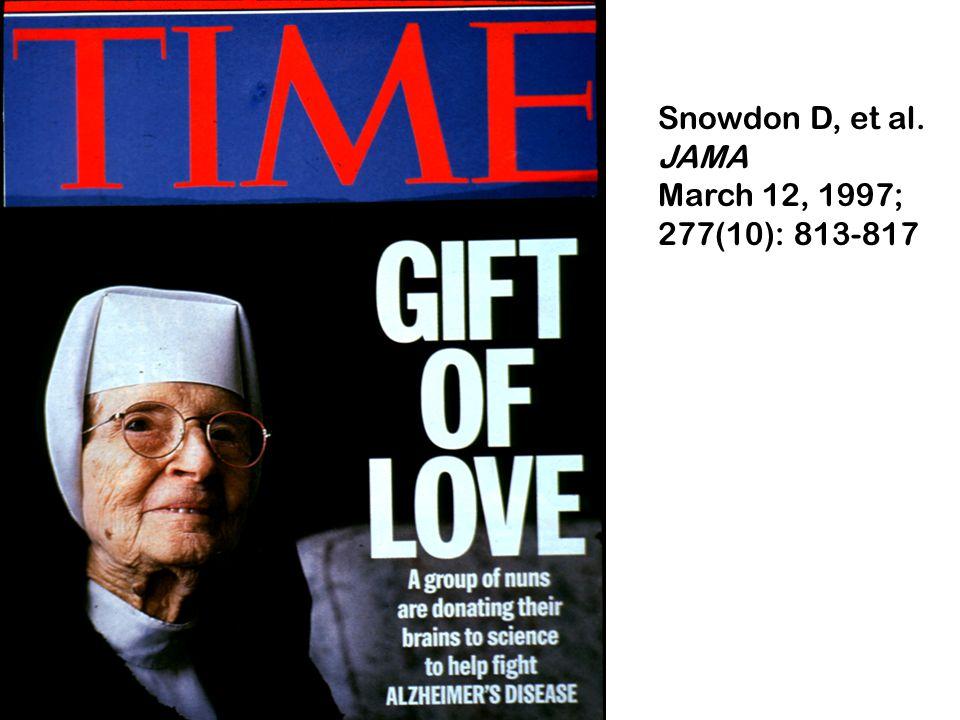 Snowdon D, et al. JAMA March 12, 1997; 277(10): 813-817