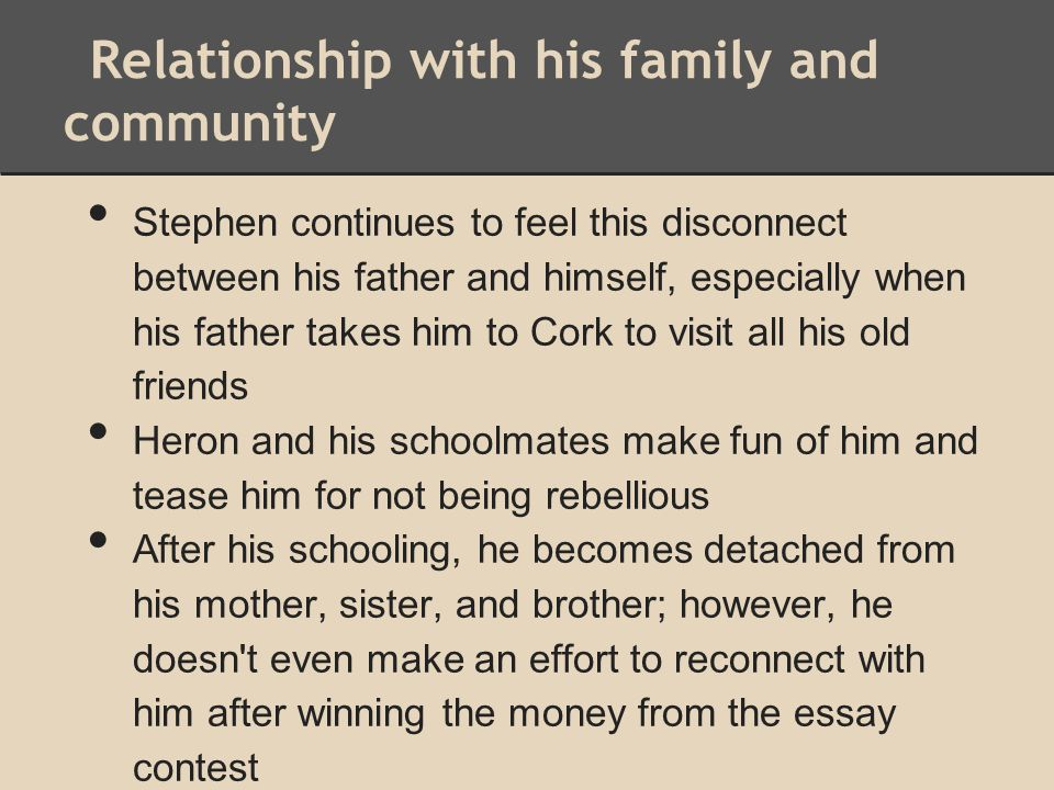 Relationship with his family and community Stephen continues to feel this disconnect between his father and himself, especially when his father takes