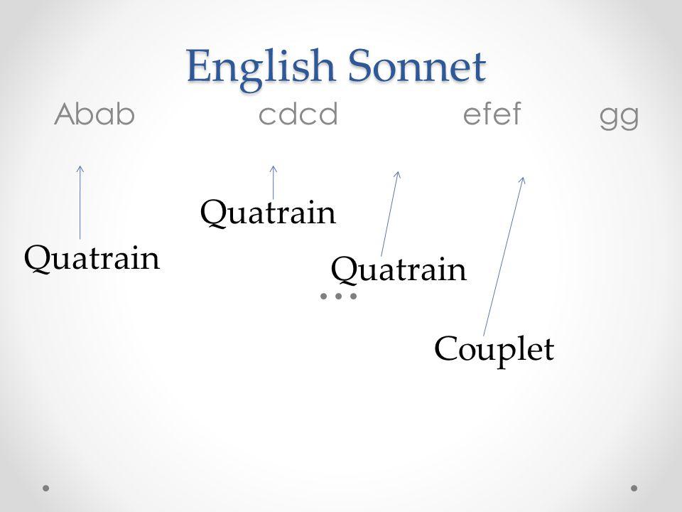 English Sonnet Abab cdcdefef gg Quatrain Couplet