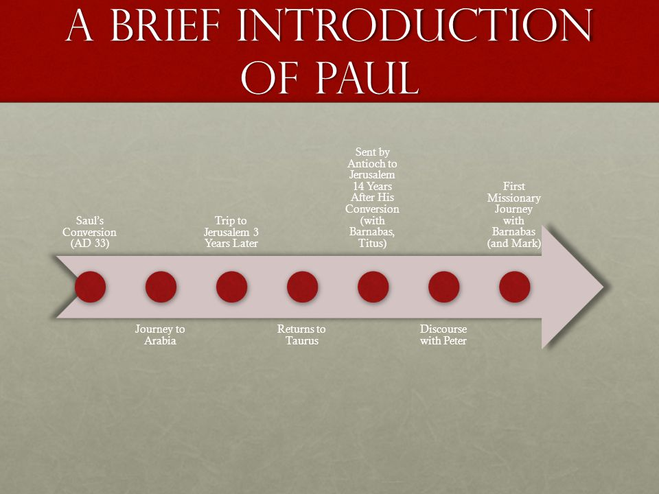 A Brief introduction of Paul Saul's Conversion (AD 33) Journey to Arabia Trip to Jerusalem 3 Years Later Returns to Taurus Sent by Antioch to Jerusalem 14 Years After His Conversion (with Barnabas, Titus) Discourse with Peter First Missionary Journey with Barnabas (and Mark)
