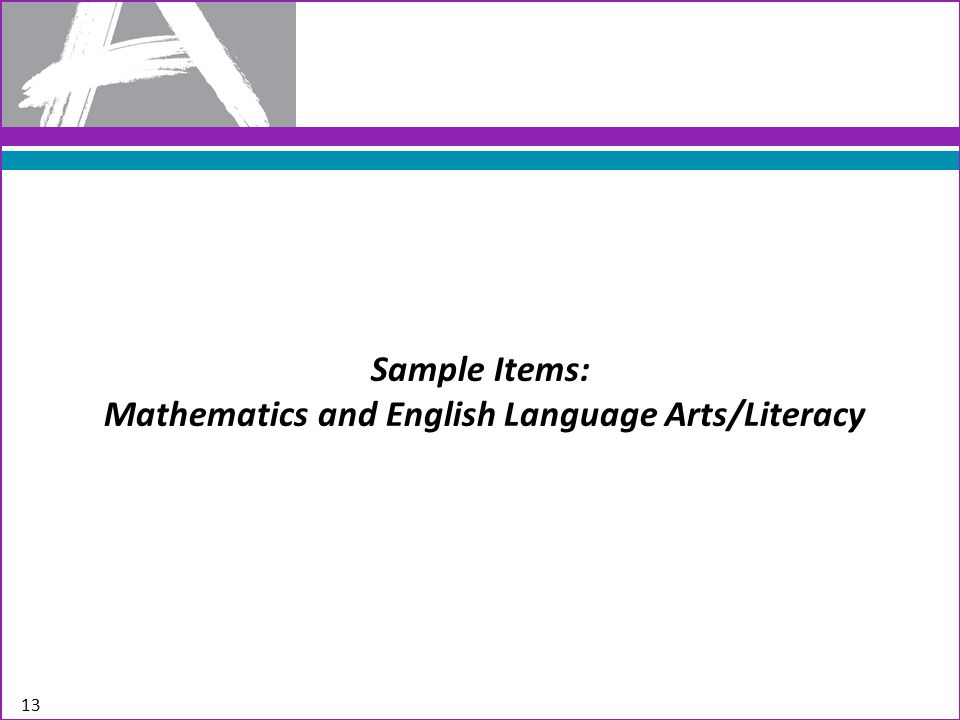 Sample Items: Mathematics and English Language Arts/Literacy 13