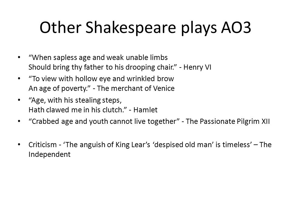 """Other Shakespeare plays AO3 """"When sapless age and weak unable limbs Should bring thy father to his drooping chair."""" - Henry VI """"To view with hollow ey"""