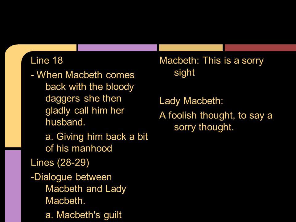 Lines (28-46) -Dialogue between Macbeth and Lady Macbeth.