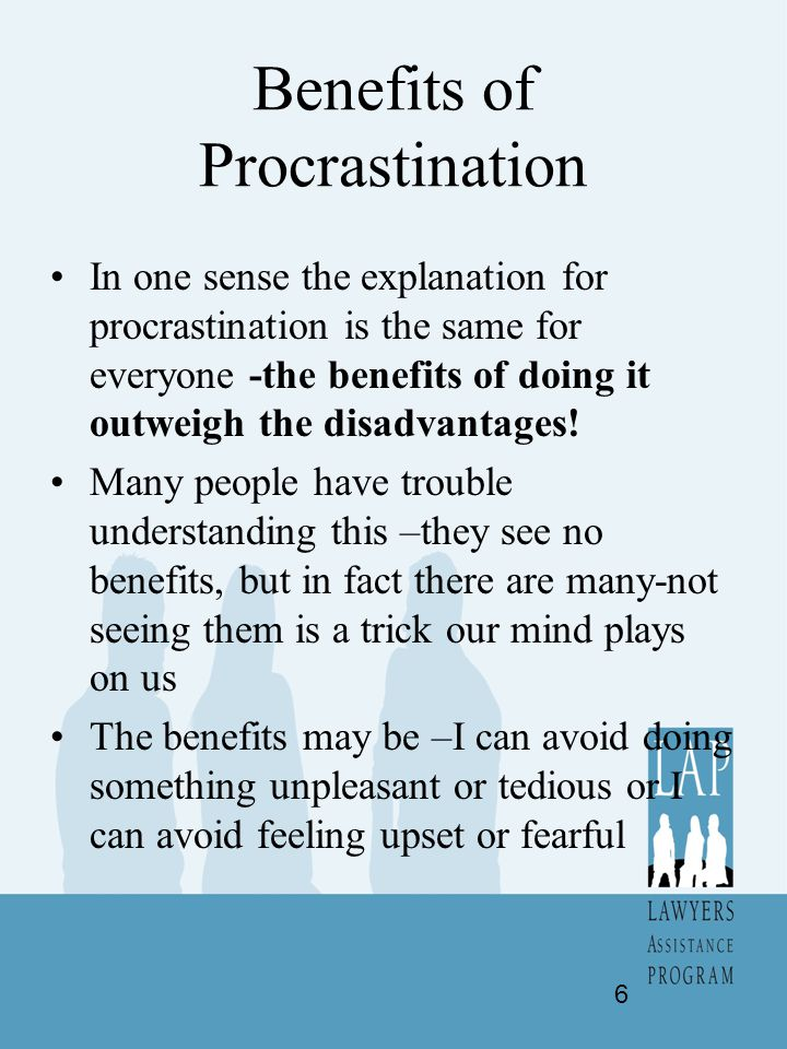 Procrastination and Perfectionism Waiting for the perfect moment to draft the perfect document for the perfect case so you will be seen as the perfect lawyer means your life will be about waiting forever-you have locked in a procrastination mind set.