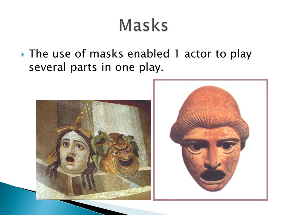  The use of masks enabled 1 actor to play several parts in one play.