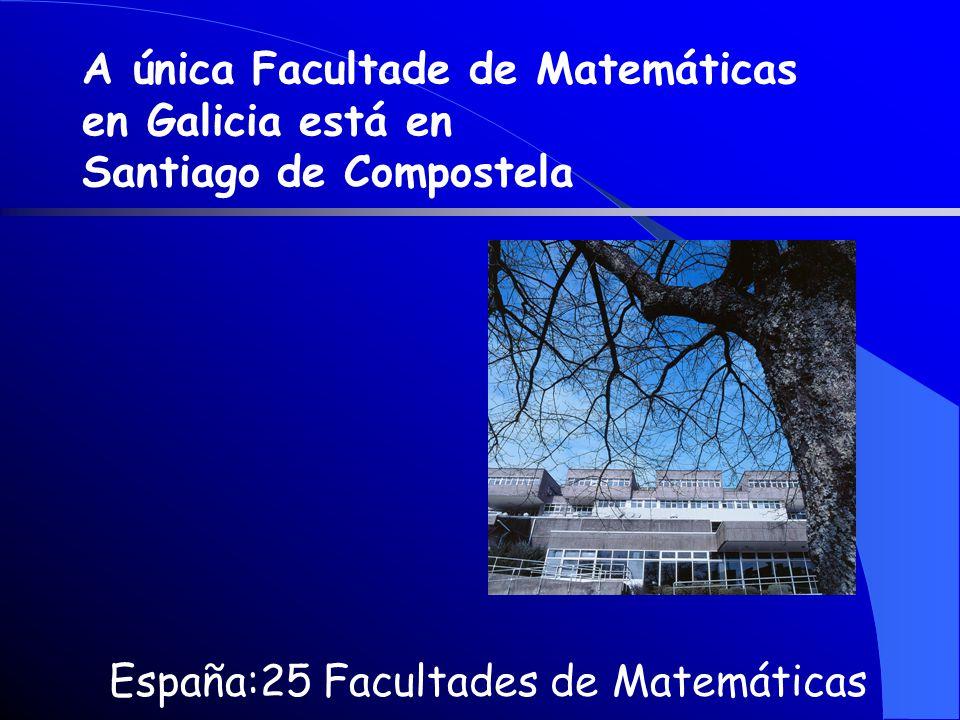 España:25 Facultades de Matemáticas A única Facultade de Matemáticas en Galicia está en Santiago de Compostela