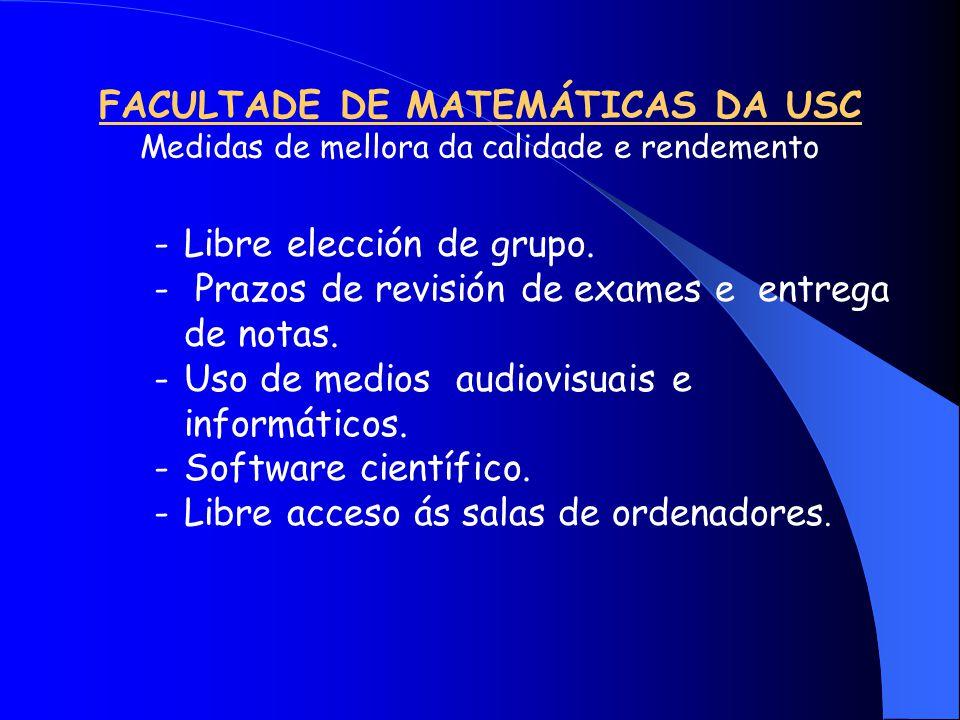 FACULTADE DE MATEMÁTICAS DA USC Medidas de mellora da calidade e rendemento -Libre elección de grupo.