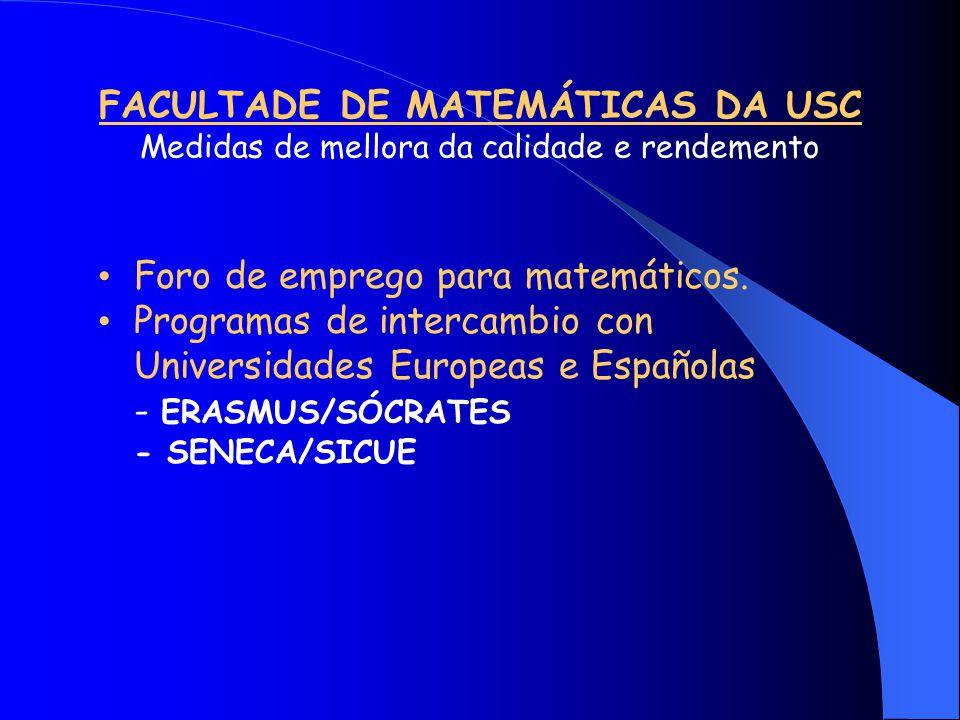 FACULTADE DE MATEMÁTICAS DA USC Medidas de mellora da calidade e rendemento Foro de emprego para matemáticos.