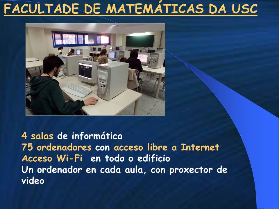 FACULTADE DE MATEMÁTICAS DA USC 4 salas de informática 75 ordenadores con acceso libre a Internet Acceso Wi-Fi en todo o edificio Un ordenador en cada aula, con proxector de video